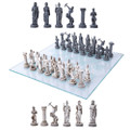 "PT11290 - 3.75"" Greek Mythology Chess Set with Glass Board"