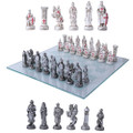 "PT11291 - 3.75"" Crusader vs Muslim Chess Set with Glass Board"