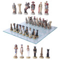 "PT11294 - 3.75"" Romans vs Egyptian Chess Set with Glass Board"
