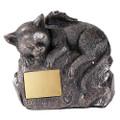 """PT11563 - 5.75"""" Cat Urn w/Engravable Plate"""