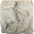 YTC8799 - Faux Marble Metope - Faux Marble Centaur and Lapith in Mortal Combat