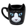 """PT12573 - 4.325"""" Ceramic Work Hard Cat Mug"""