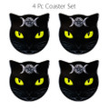 "PT13796 - 3.66"" Triple Moon Cats Coaster Set of 4"