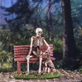 """PT13880 - 4.25"""" Skeleton and Dog on Park Bench"""