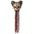 """PT13998 - 10"""" long Ram Horned Skull Incense Burner"""