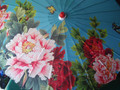 Bamboo Parasol; Blue with Roses and Butterflies