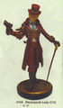 """PT09199 - 9"""" Steampunk Lady with tophat and cane"""