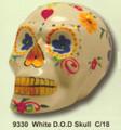 """PT09330 - 7.33"""" long White Day of the Dead Skull"""