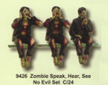 "PT09426 - 4"" Zombies Speak, See, Hear No Evil Shelf Sitters"