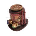 "PT09637 - 7"" Steampunk Machinery Hat Trinket Box"
