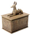 """Sandstone Polyresin Anubis Box; 4"""" long by 2.5"""" wide by 4.5"""" high; weight 1 pound."""