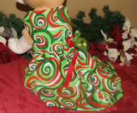 Green Christmas Swirls Dog Dress