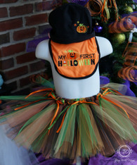 Baby's 1st Halloween Tutu Set, First Halloween Bib and Hat Set