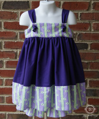 Purple Dress and Cropped Pants Set