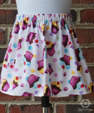 Cupcakes and Swirls Toddler Birthday Party Skirt
