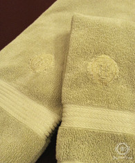 Elegant Oval Embossed Personalized Bath and Hand Towel Set