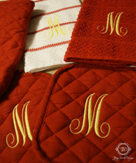 Monogrammed 5 Piece Set, Kitchen Towel Set