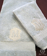 Embossed Personalized Bath and Hand Towel Set