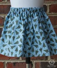 Christmas Trees on Blue Toddler Skirt