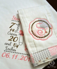 Bunny Diaper Pin Birth Announcement Baby Blanket