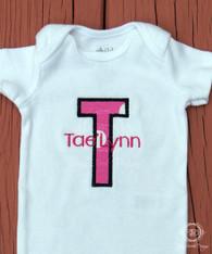 Initial Applique Baby Bodysuit