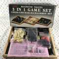 Vintage Lido Magnetic Travel 3 in 1 Game Set Chess Checkers Backgammon - 1983