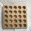 Handmade Solid Maple 10 inch Wood Square with 25 1.5 inch Diameter Holes