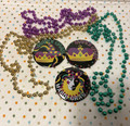 Mardi Gras New Orleans Six Piece Gold, Green, Purple Bead and Button Pack