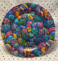Handmade 10 inch Round Decorative Fabric Backed Colorful Easter Egg Glass Plate