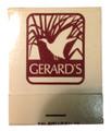 Vintage Gerard's Restaurant FrontstrikeMatchbook Unstruck - 1980's