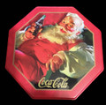 Coca Cola Coke Octagon Santa Christmas Tin - 5 1/4 inch diameter