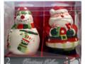 Gibson Elite Festive Ceramic Santa Claus & Snowman Salt and Pepper Shaker Set
