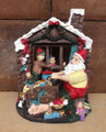 Hand Painted Santa's Workshop Scene Polyresin Figurine - Christmas Decor