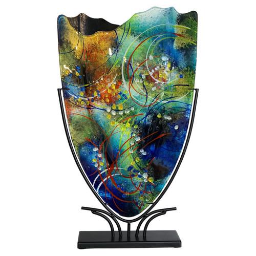 Multi layered fused glass vase
