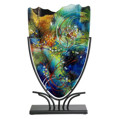 "19"" x 11"" Multi layered fused glass vase"