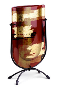 Glass Bud Vase with red, gold, and black colors