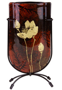 Glass Bud Vase featuring a gold flower over red and black colors