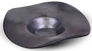 "Our 19"" dark metallic silver fused glass bowl, like the other colors, is food-safe!"