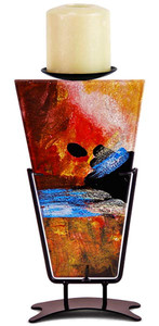 """11"""" Triangular shaped fused glass candleholder featuring artfully mixed gold, blue, red, black and white"""