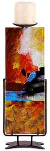 """From the Horizon Collection, a 14"""" tall fused art glass candle holder"""