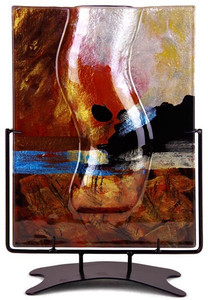 12in Glass Vase featuring red tones, with blue, black and gold highlights