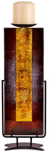 14 inch gold pillar contemporary metallic fused art glass candle holder