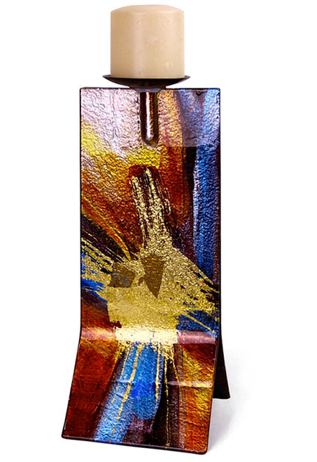 14in Candle Holder 20831 featuring red blue, black and gold fused glass like a reflection!
