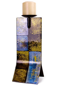 A beautiful abstract candle holder, featuring purple, blue, gold and black with a metallic look