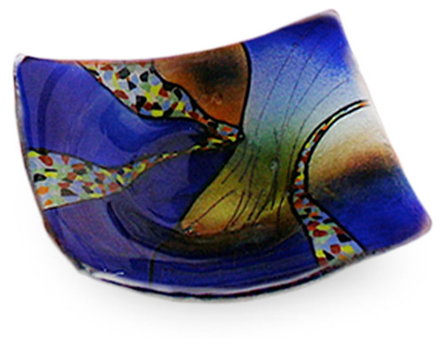 "3/5"" Square fused glass plate in vibrant blue, with some orange and other details. From our Sky Bridge series"