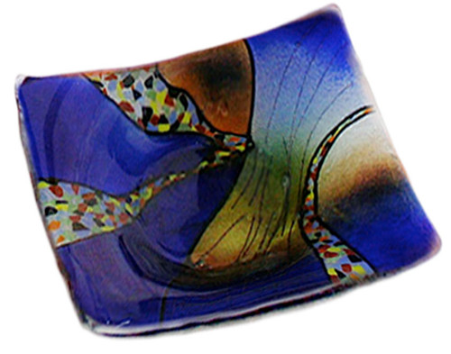 """6"""" Square fused glass plate in vibrant blue, with some orange and other details. From our Sky Bridge series"""