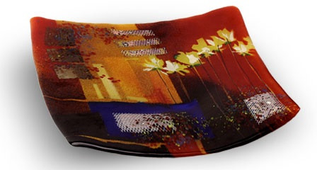 8 inch square glass platter featuring red and orange fused glass, and a series of yellow flowers