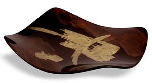 This fused art glass platter features rich brown coloring with bold gold strokes. Flying Brush series