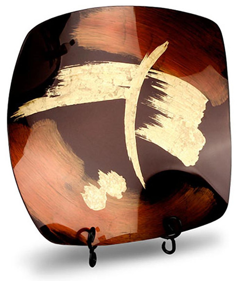 This platter features brown and black and has bold gold brush strokes