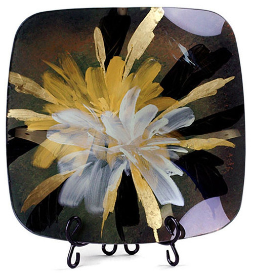 The Full Bloom square fused glass platter features a black and red background, with yellow and white blooming flower sprays, with hand painted gold detail strokes